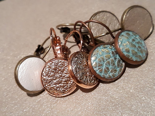 Leather button ear rings