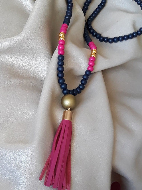 Navy fuschia and gold tassel necklaces