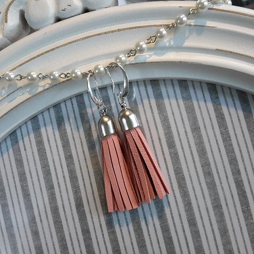 Pink leather tassel ear rings