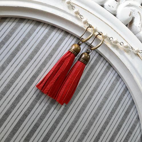 Red leather tassel ear rings