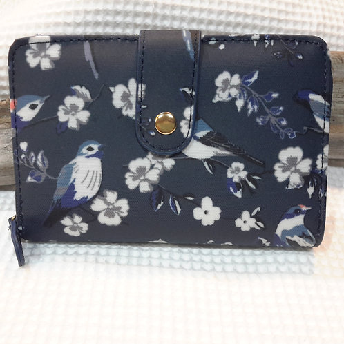 Small bluebird oilcloth wallet