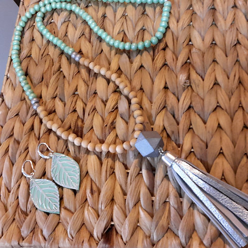 Mint and silver leather tassel necklace