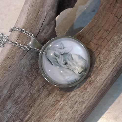 Silver horse dome pendant