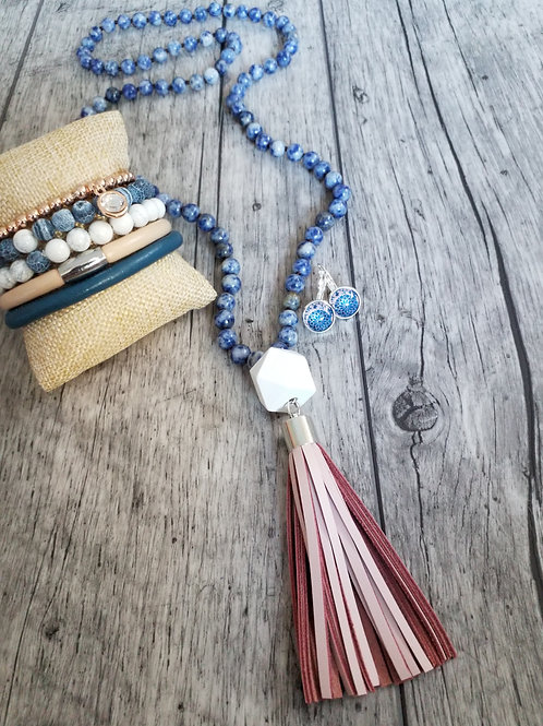 Blue stone necklace with blush tassel
