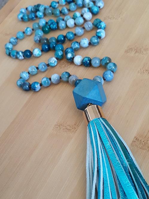 Stone and metallic blue genuine leather tassel