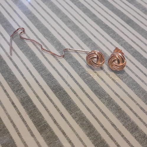 Asymmetrical 925 sterling silver ear rings