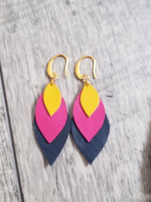 Navy mustard and fuchsia earrings