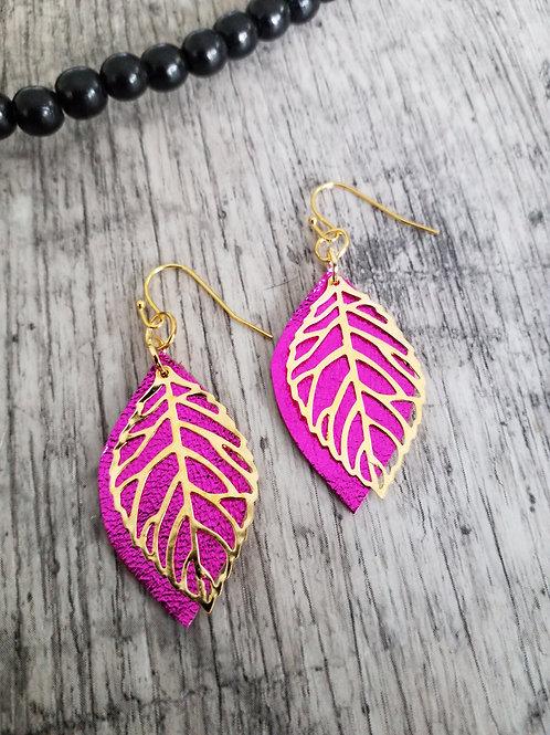 Metallic fuchsia earrings