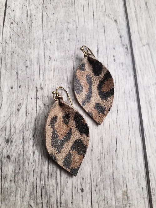 Leopard print leather ear rings