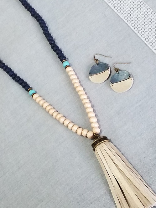 Navy and cream tassel necklace
