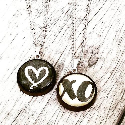 xo or heart pendant