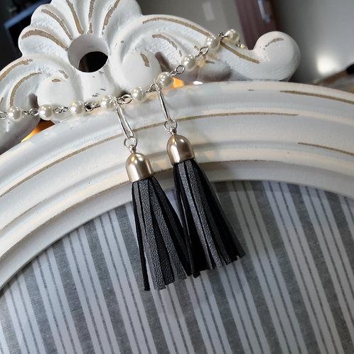 Steel grey leather tassel ear rings