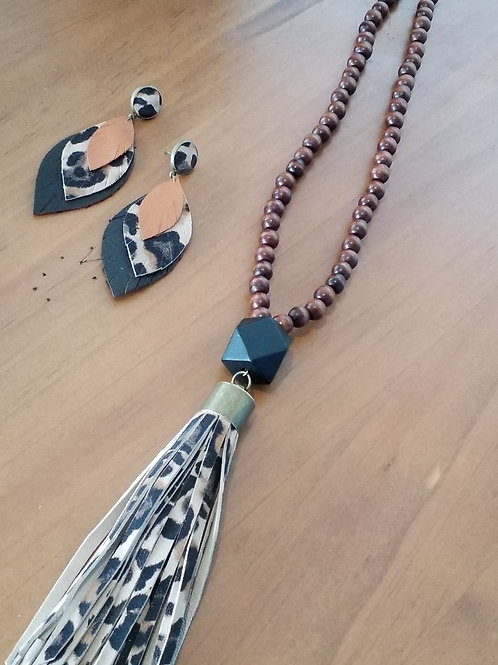 Leopard print leather tassel necklace