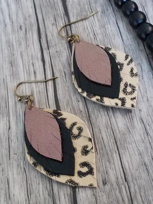 Leather leopard hook earrings