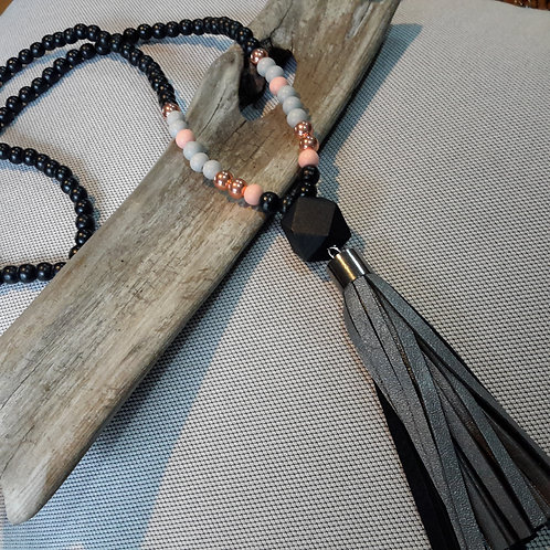 Black, blush  and grey leather tassel necklace