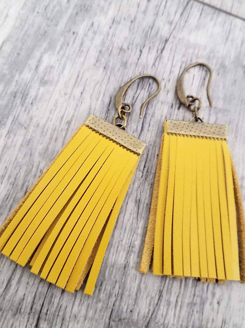 Mustard boho tassel ear rings