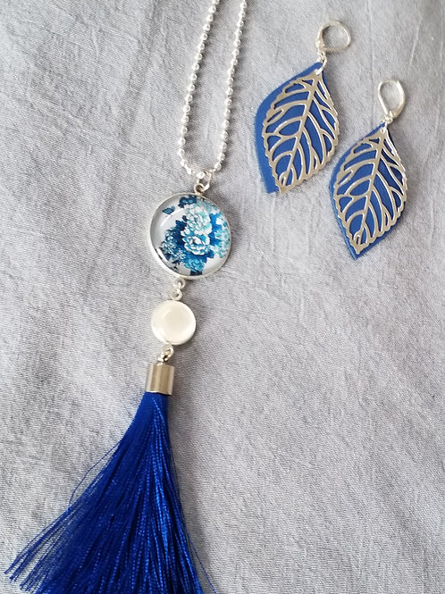 Blue floral 2 tier pendant with silky tassels