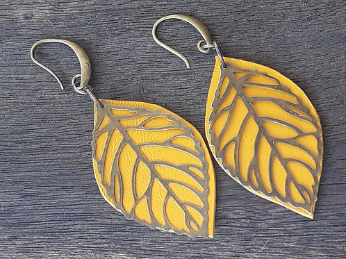 Mustard leather leaf ear rings