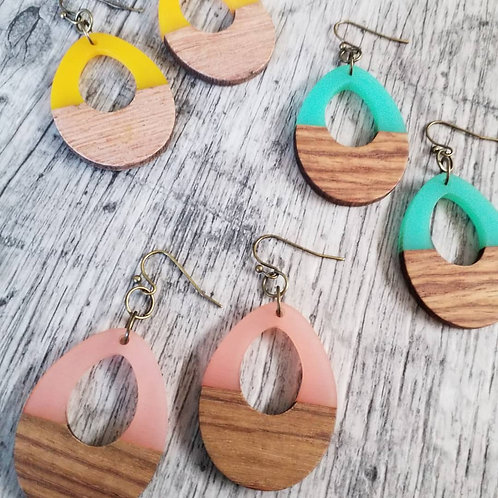 Arcylic and wood ear rings