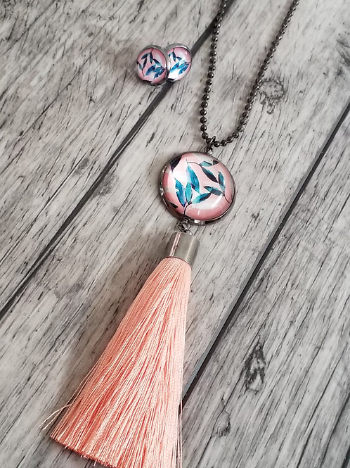 Coral silky tassels and ear rings set