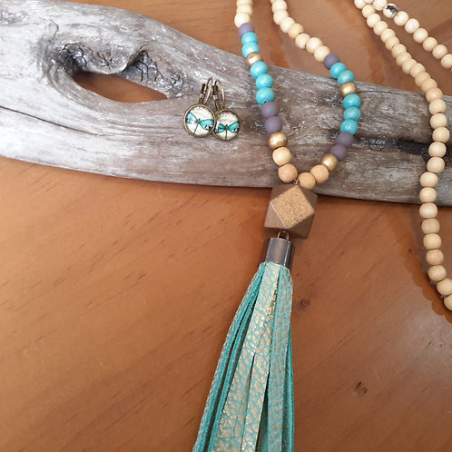 Teal and gold leather tassel necklace