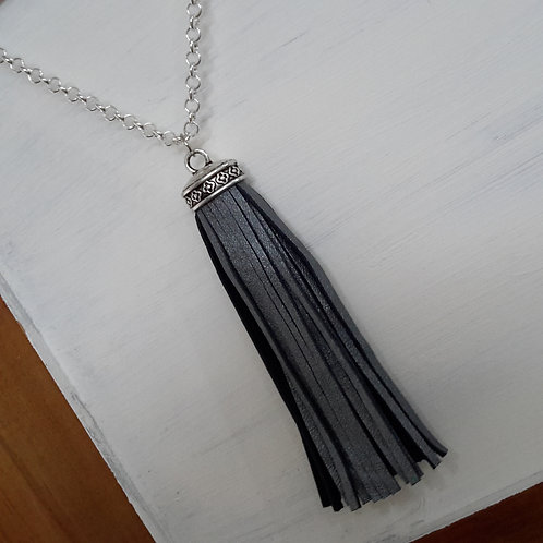 Steel grey leather minimalist tassel necklace