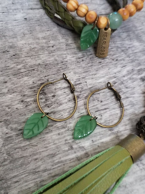 Green stone leaf hoops