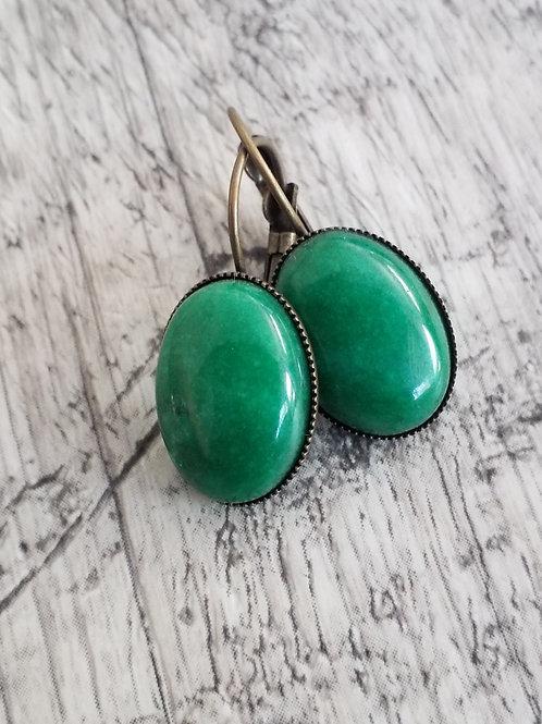 Green stone ear rings