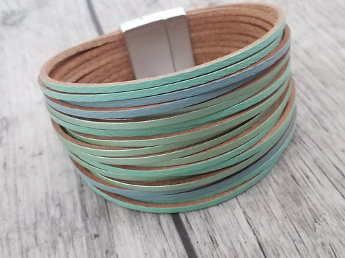 Mint and blue leather bracelet