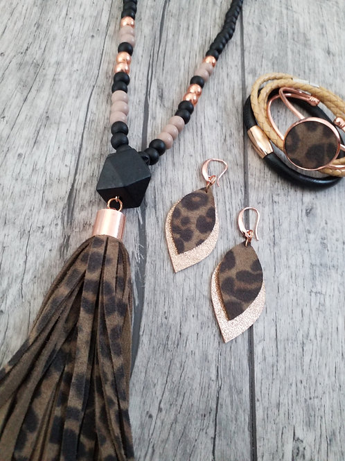 Leopard print and rose gold tassel necklace