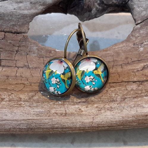 Blue bird ear rings