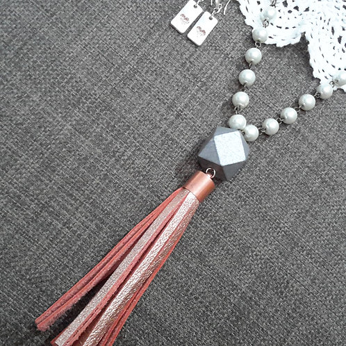 Pearl and rose gold leather tassel necklace
