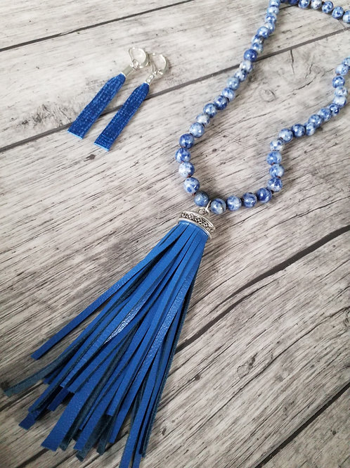 Blue stone tassel necklaces