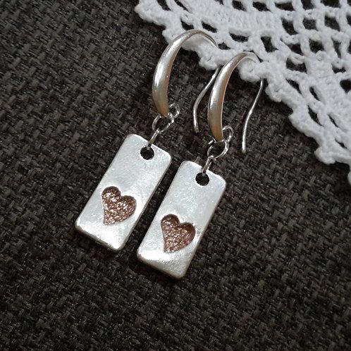 Leather heart ear rings