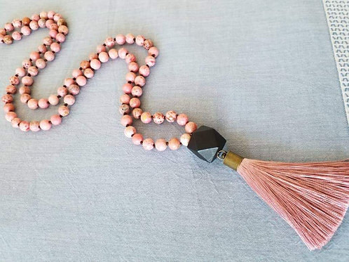 Pink stone tassel necklace