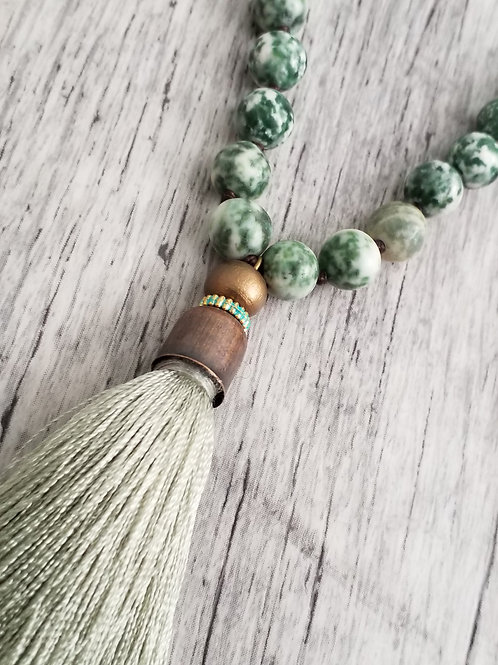 Sage stone tassel necklace