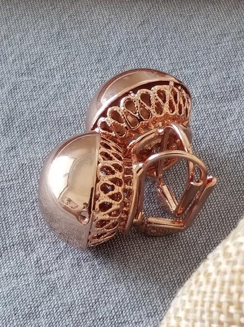 Rose gold ball ear rings