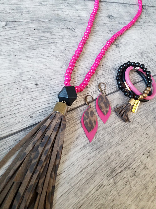 Pink and leopard print tassel necklace