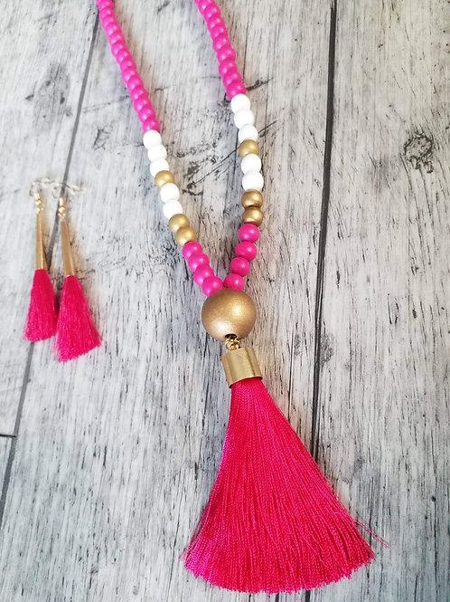 Fuschia tassel necklace and earrings set