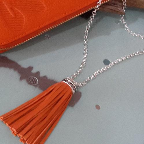 Orange Italian leather minimalist tassel necklace