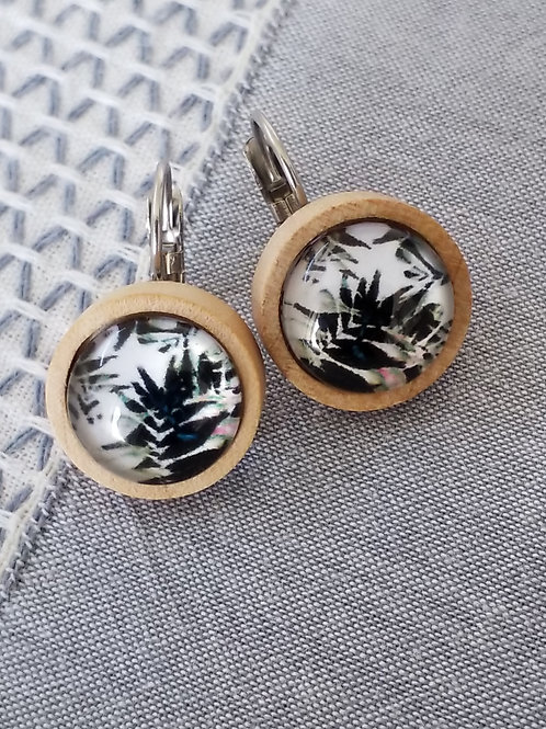 Wooden dome ear rings