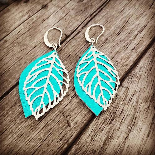 Metallic turquoise leaf ear rings