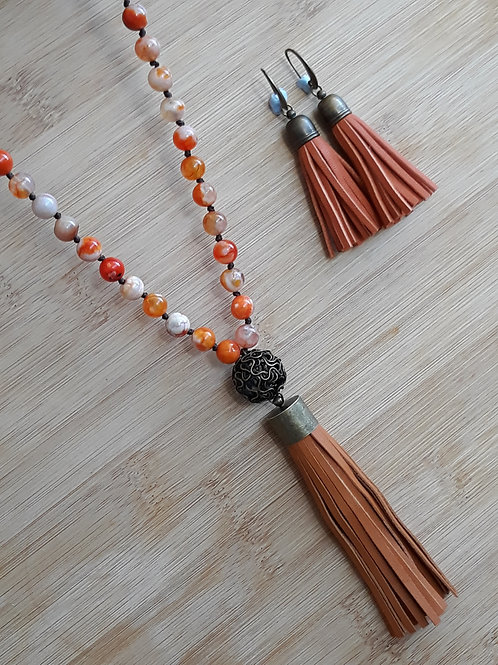 Orange stone and genuine leather tassels