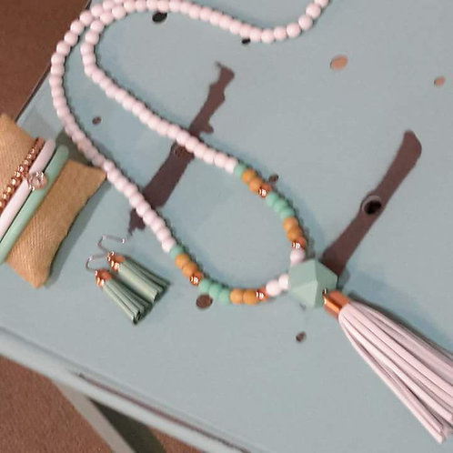 Mint and rose gold tassel necklace
