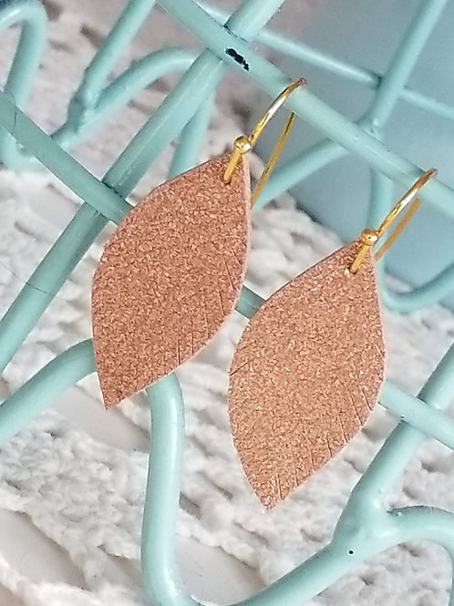 Rose gold mini leather leaf ear rings