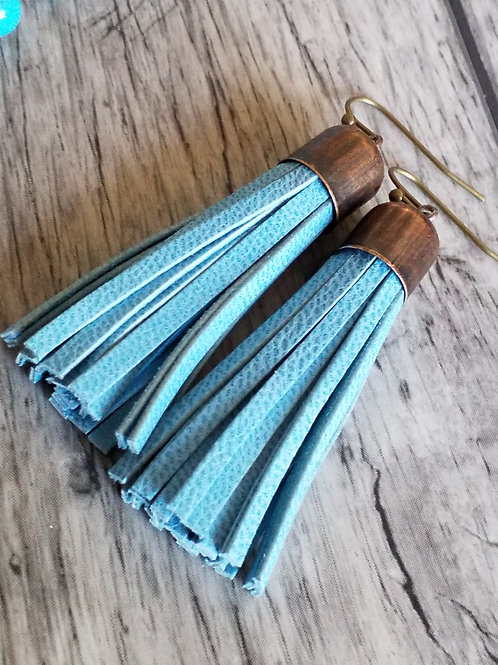 Copper and turquoise tassel ear rings