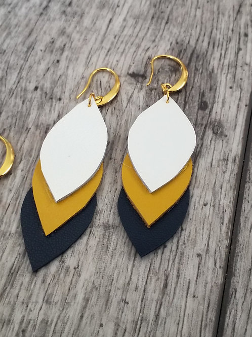 Navy and mustard leather earrings