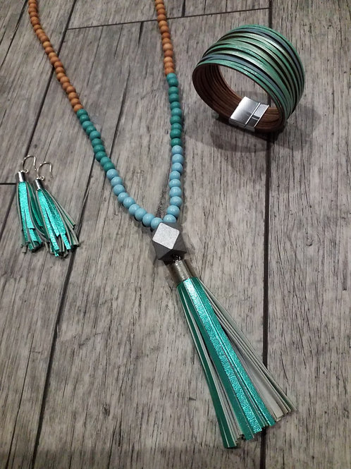 Mint and blue leather tassel necklace