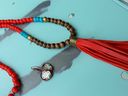 Boho red and turqoise tassel necklace