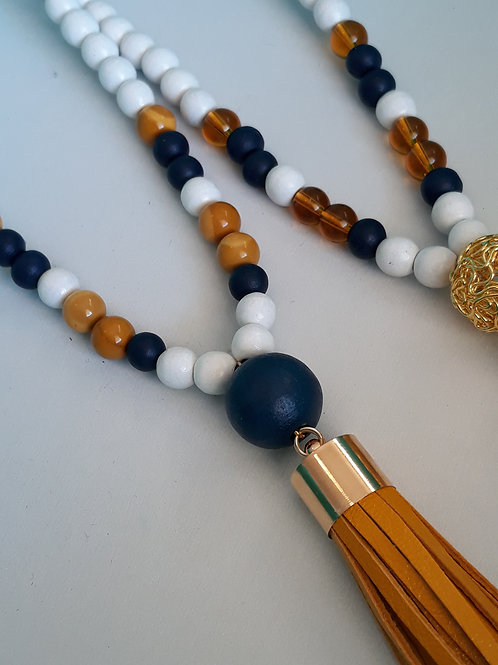Navy and mustard stone tassel necklace